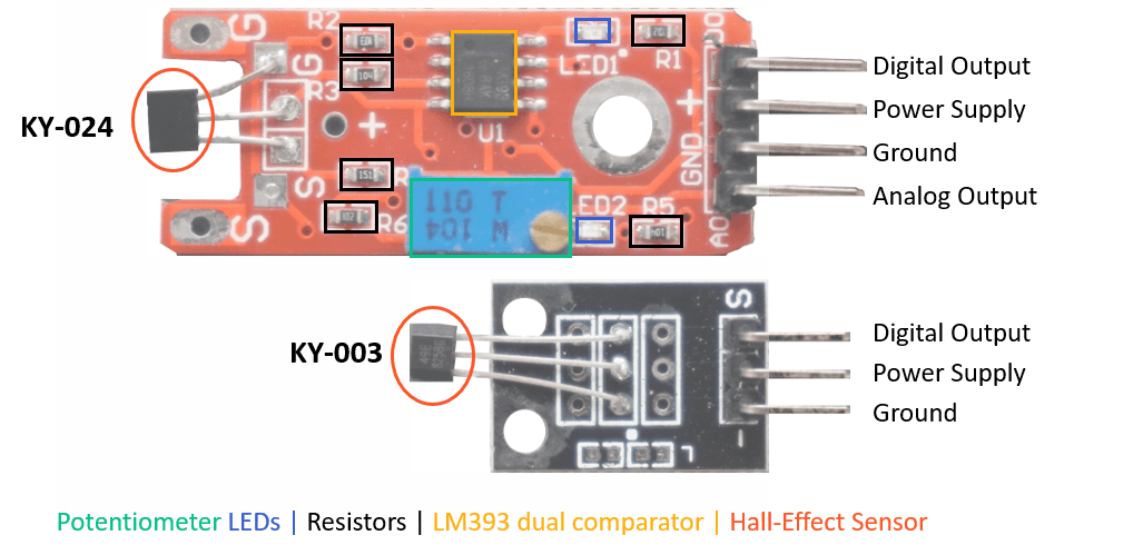 KY-024 and KY-003 Hall Sensor Pinout