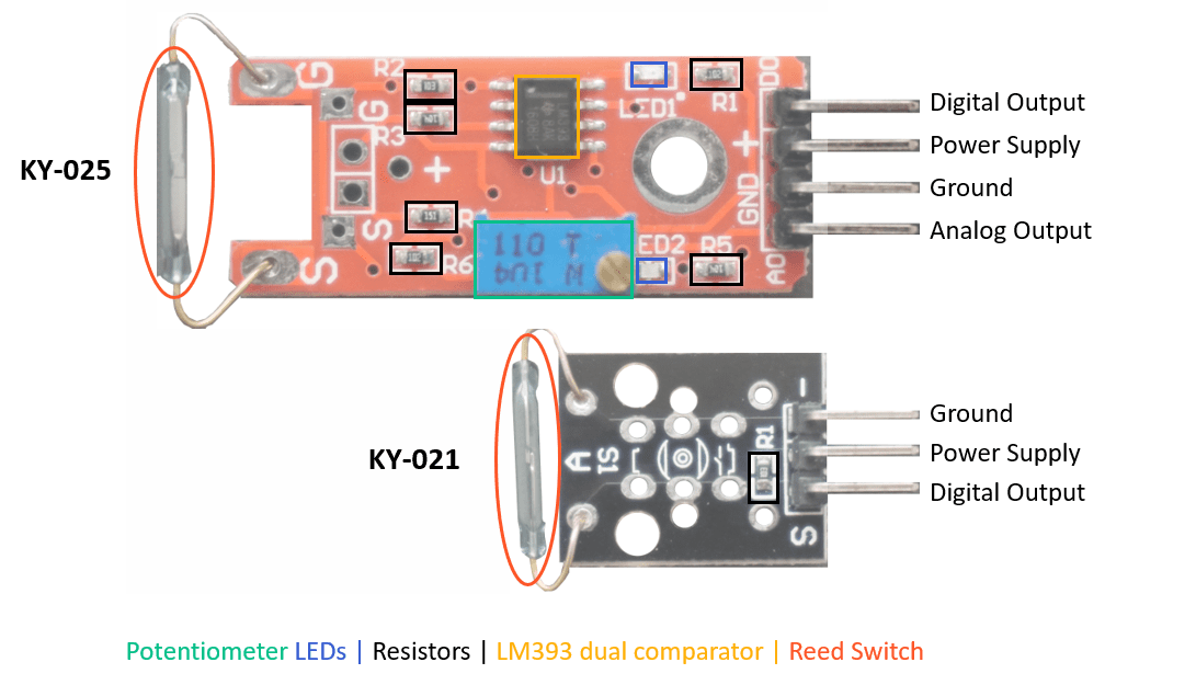 KY-025 and KY-021 Reed Switch Pinout