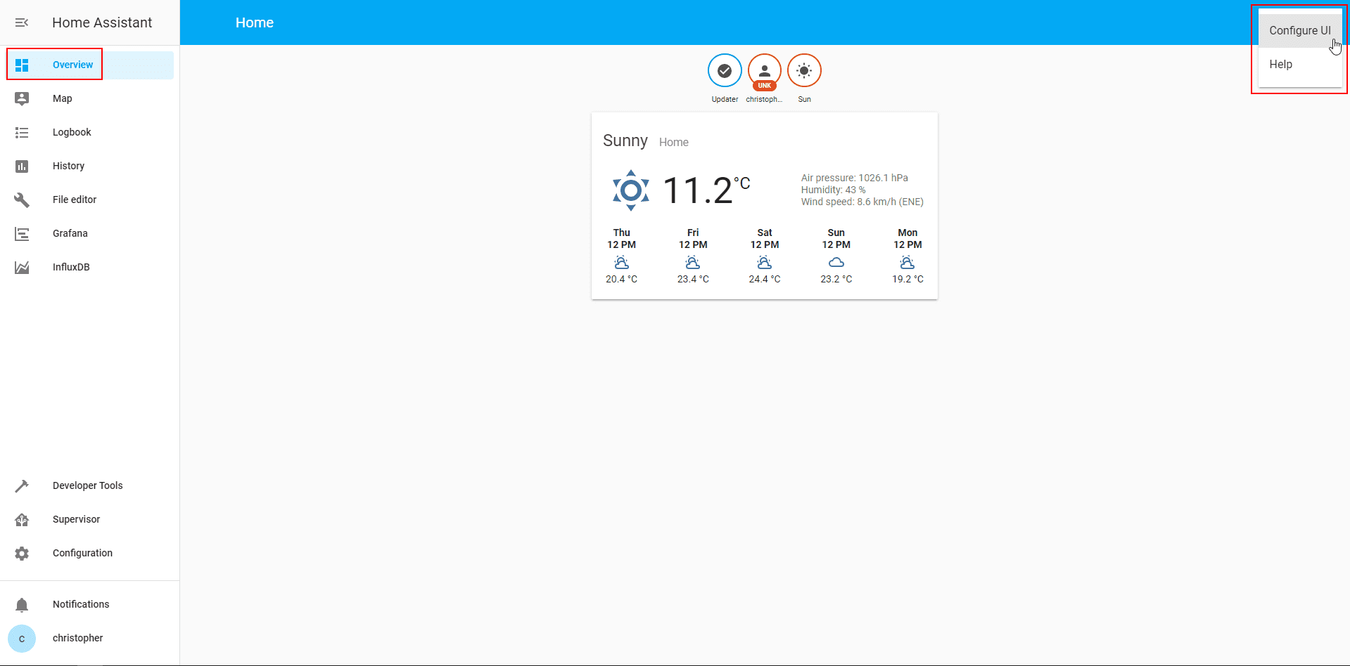 Home Assistant UI 1