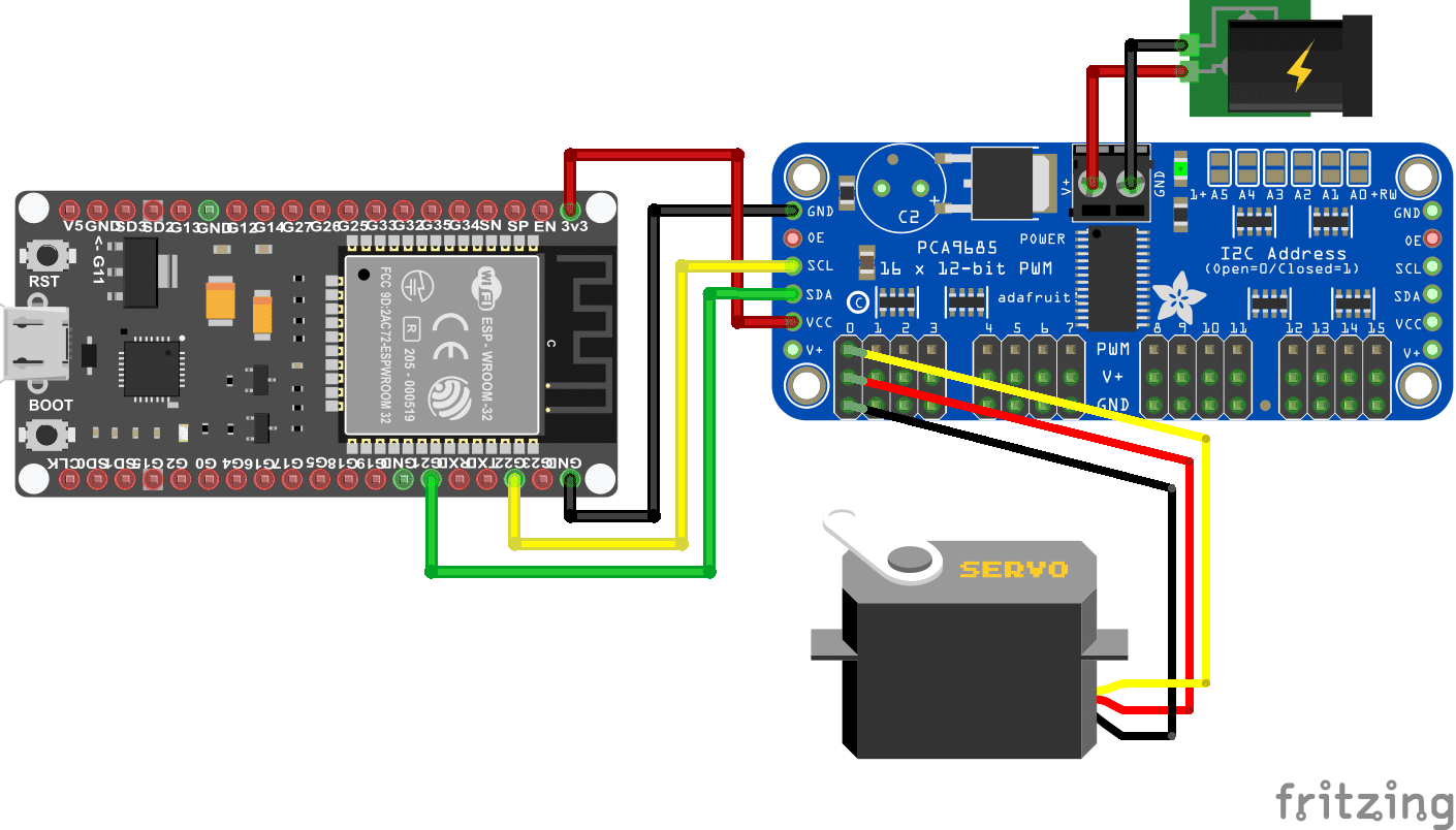 Servo PCA9685 External Power Supply ESP32 NodeMCU