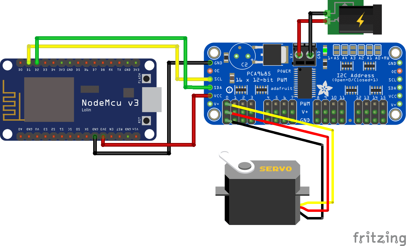 Servo PCA9685 External Power Supply ESP8266 NodeMCU