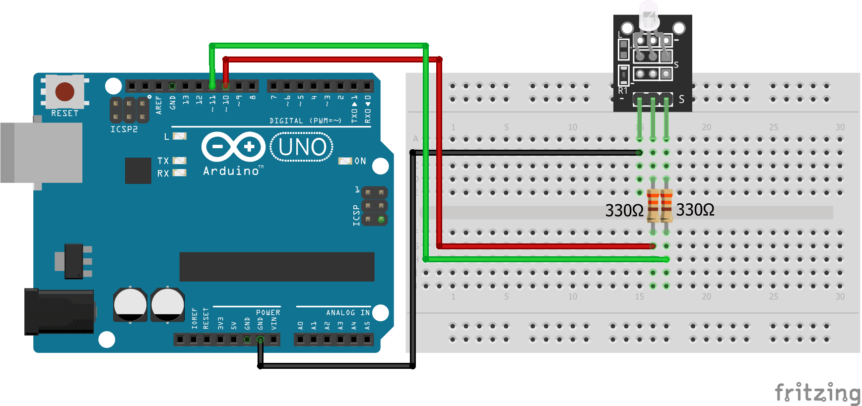 Two-color LED KY-011 Arduino Uno