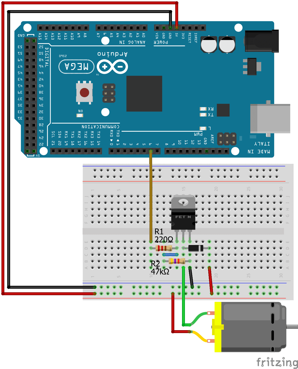 Connect DC Motor without IC Arduino Mega