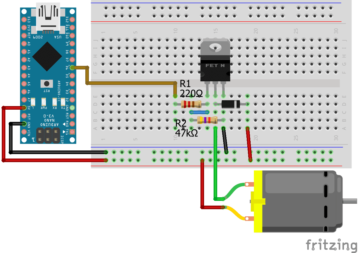 Connect DC Motor without IC Arduino Nano